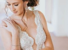 Bride in her steamed wedding dress