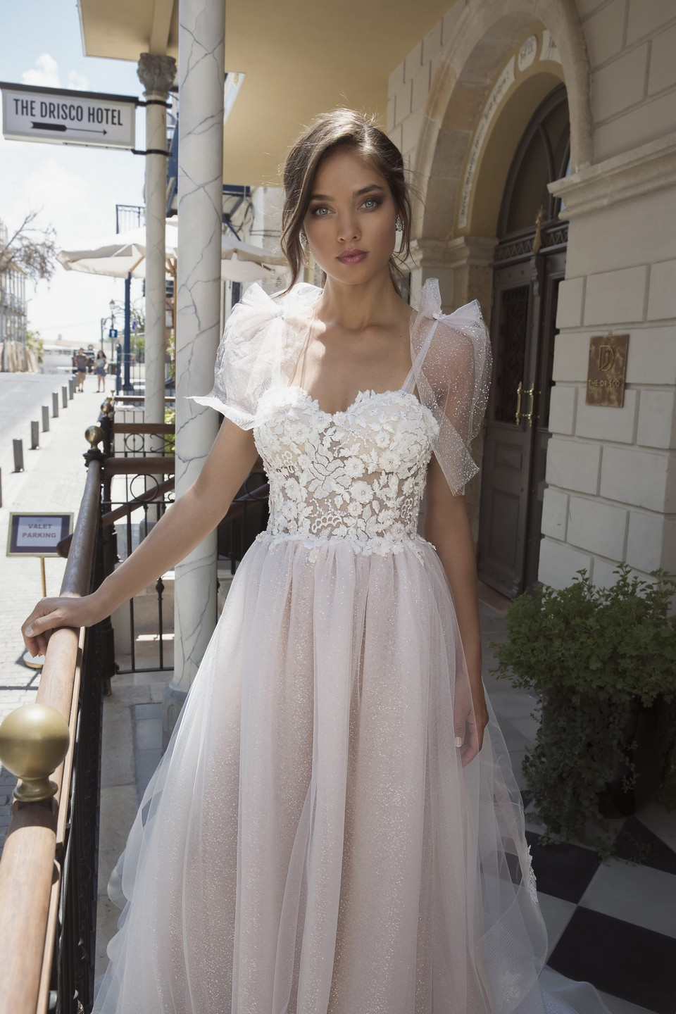 Floral aline wedding dress with tulle