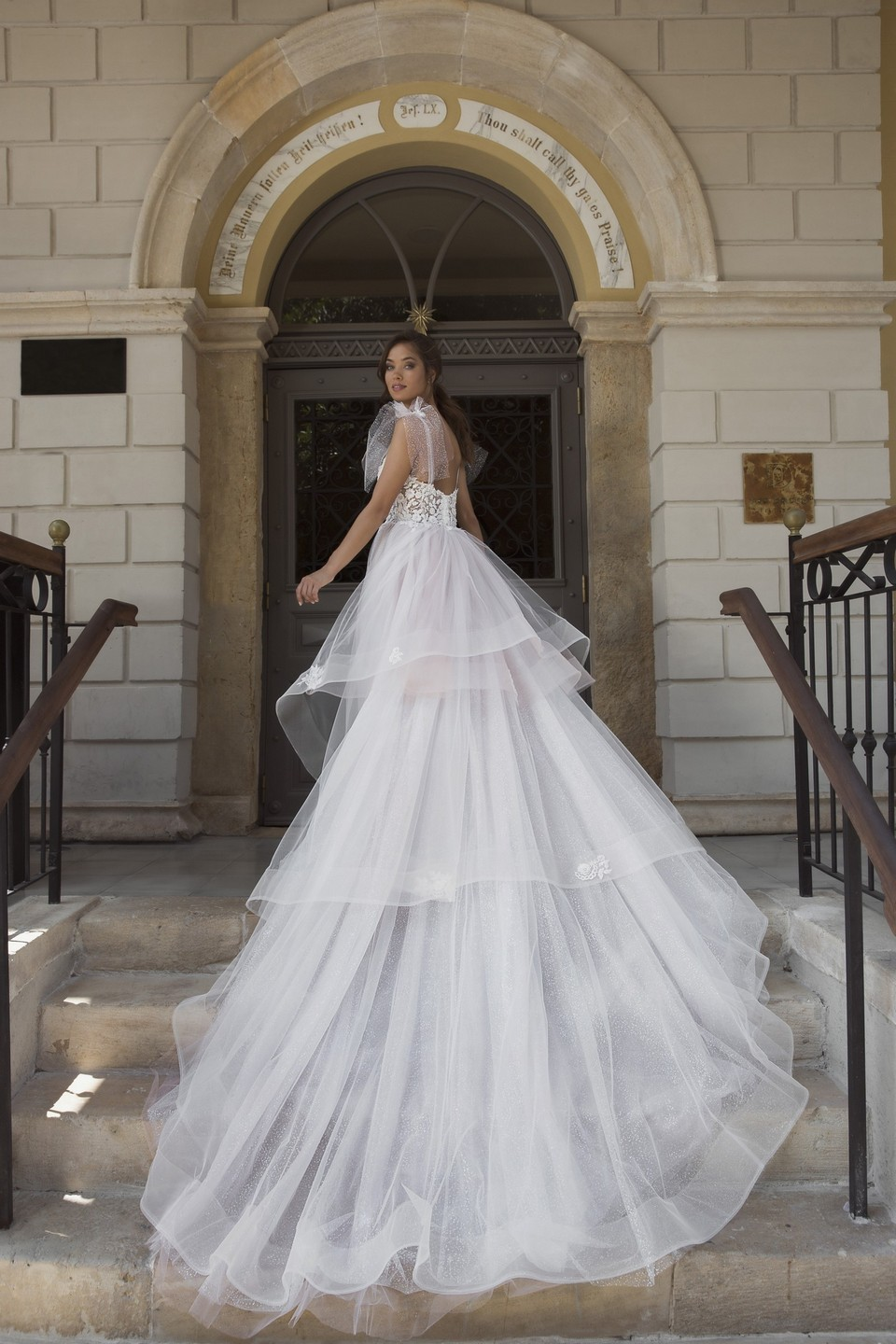 Tulle wedding dress train