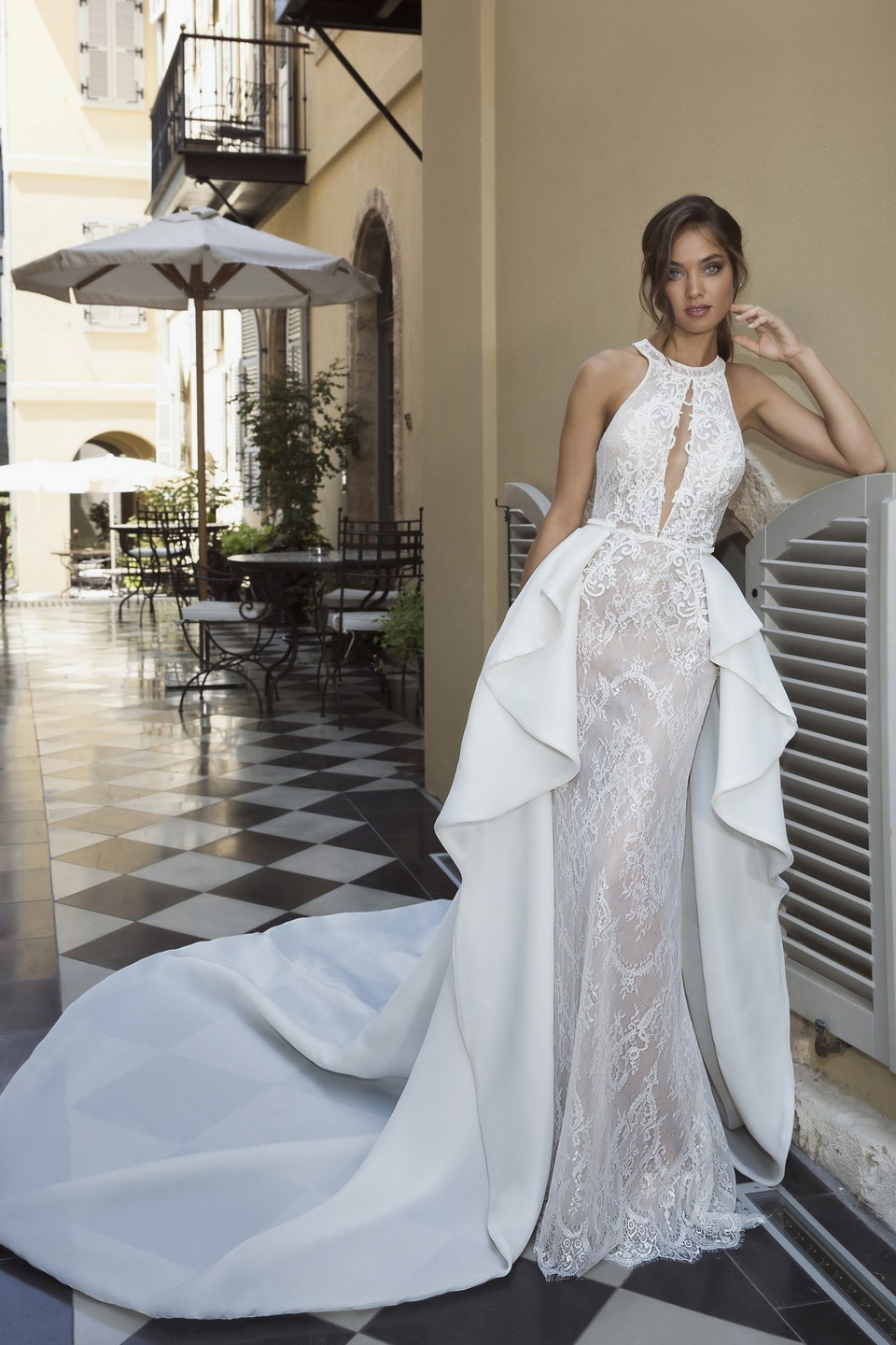 Elegant form fitted wedding dress with long train